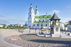 Minsk, Vitryssland Domkyrka av den heliga anden i Minsk - kyrka av Vitryssland och symbol av huvudstad berömd landmark royaltyfria foton