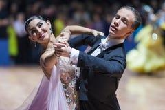 Minsk Vitryssland-Februari 14, 2015: Yrkesmässiga danspar av K Royaltyfria Bilder