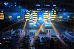 MINSK, VITRYSSLAND - JANUARI 17, 2016 Starladder mästerskap av Dota 2 och räknareslag: Global offensiv Esports arena Royaltyfria Foton