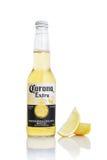 MINSK VITRYSSLAND - JULI 10, 2017: Redaktörs- foto av flaskan av Corona Extra öl som isoleras på vit, en av överkant-sälja Royaltyfria Bilder