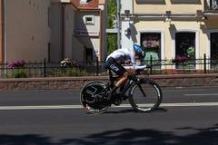 MINSK VITRYSSLAND - JUNI 25, 2019: Cyklisten från Tyskland deltar i delade kvinnor startar det individuella loppet på de 2nd euro arkivfoto