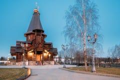 Minsk, Vitryssland Kyrka för helig Treenighet för aftonsikt Fotografering för Bildbyråer
