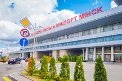 MINSK VITRYSSLAND - MAJ 01 2018: Är namnet Minsk-2 för gamlan Minsk för den nationella flygplatsen den huvudsakliga internationel Royaltyfria Foton
