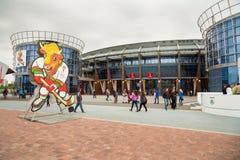 MINSK VITRYSSLAND - MAJ 11 - Chizhovka arena på Maj 11, 2014 i Minsk, Vitryssland Ishockeyvärldsmästerskap (IIHF) Royaltyfri Foto