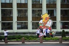 MINSK VITRYSSLAND - MAJ 10, 2014: Världsishockeymästerskapet Arkivbild