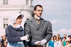 Minsk, Vitryssland Par av iklädd kläder för folk av 19th Royaltyfria Foton