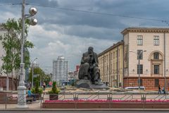 Minsk Vitryssland, Yakub Kolas kvadrerar arkivfoton
