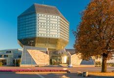 Minsk, Weißrussland - 20. August 2015: Nationalbibliothek von Weißrussland Lizenzfreie Stockfotografie
