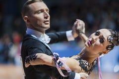 Minsk, Weißrussland 15. Februar 2015: Tanz-Paare von Parfyonov Deni Lizenzfreie Stockbilder