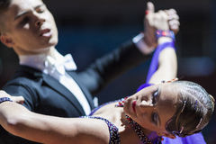 Minsk, Weißrussland 15. Februar 2015: Tanz-Paare von Shmidt Danila Lizenzfreie Stockfotografie