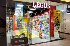 Minsk, Weißrussland, am 7. Juli 2018: Eine Vorderansicht des Speichers Legus, der Lego-Produkte verkauft Stockbild