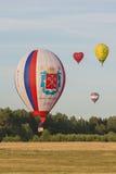 Minsk-Weißrussland, am 19. Juli 2015: Internationale Teams, die Luft-Ballon-am internationalen Aerostatik-Cup teilnehmen Stockbilder