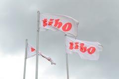MINSK, WEISSRUSSLAND - 18. April 2017: Äußere Fahne mit Logo des TIBO-2017 der 24. International spezialisierte Forum auf Telecom Lizenzfreies Stockfoto