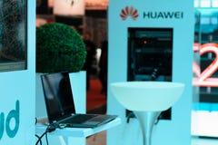 MINSK, WEISSRUSSLAND - 18. April 2017: Huawei-Standlogo auf TIBO-2017 der 24. International spezialisierte Forum auf Telekommunik Stockfotografie