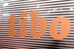 MINSK, WEISSRUSSLAND - 18. April 2017: Logo des TIBO-2017 der 24. International spezialisierte Forum auf Telekommunikation, Infor Lizenzfreie Stockbilder