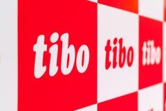 MINSK, WEISSRUSSLAND - 18. April 2017: Logo des TIBO-2017 der 24. International spezialisierte Forum auf Telekommunikation, Infor Lizenzfreies Stockfoto