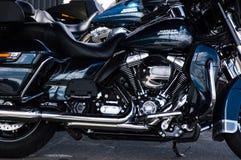 MINSK, WEISSRUSSLAND - 24. APRIL 2016 SCHWEIN Harley Davidson Owners Group-Saisonöffnungsshow Großaufnahme des Chroms Harley Davi Stockfotos