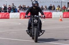 MINSK, WEISSRUSSLAND - 24. APRIL 2016 SCHWEIN Harley Owners Group-Öffnung, die Jahreszeitshow fährt Mann, der geht, Fahrt mit sch Stockbilder