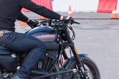MINSK, WEISSRUSSLAND - 24. APRIL 2016 SCHWEIN Harley Owners Group-Öffnung, die Jahreszeitshow fährt Mannbremsungsreiten mit schwa Stockfoto