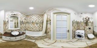 MINSK, WEISSRUSSLAND - DEZEMBER 2018: volles nahtloses kugelförmiges hdri Panorama 360 Grad Winkelsicht in der Innenbadezimmerto lizenzfreie stockfotografie