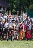 MINSK, WEISSRUSSLAND - 25. JULI 2015: Historische Wiederherstellung von ritterlichen Kämpfen des Kampfes von Grunwald in Dudutki Lizenzfreie Stockfotos