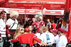 MINSK, WEISSRUSSLAND - 10. MAI 2014: Die Welteis-Hockey-Meisterschaft Lizenzfreie Stockfotografie