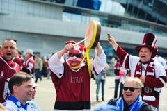 MINSK, WEISSRUSSLAND - 10. MAI 2014: Die Welteis-Hockey-Meisterschaft Stockfotografie