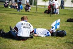 MINSK, WEISSRUSSLAND - 10. MAI 2014: Die Welteis-Hockey-Meisterschaft Stockbilder