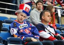 MINSK, WEISSRUSSLAND - 10. MAI 2014: Die Welteis-Hockey-Meisterschaft Stockbild