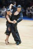 MINSK-WIT-RUSLAND, 19 MEI: Het volwassen Paar danst Latijn Royalty-vrije Stock Foto