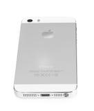 Minsk, Wit-Rusland - April 16, 2016: Apple-iPhone 5, 5S Witte versi Stock Afbeelding