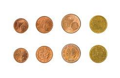 Minsk, Wit-Rusland - April 16, 2016: Eurocent de EU vier 1, 2, 5, 10 euro Royalty-vrije Stock Afbeelding