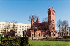 MINSK, WIT-RUSLAND - April 04, 2017: Kerk van Heiligen Simon And Hele royalty-vrije stock fotografie