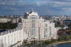 MINSK, WIT-RUSLAND - AUGUSTUS 15, 2016: Luchtmening van het zuidendeel van het Minsk stock foto
