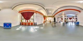 Minsk, Wit-Rusland - 2018: 3D sferisch panorama van het binnenland van de partijzolder met bar met het bekijken 360 hoek Klaar vo Royalty-vrije Stock Afbeeldingen