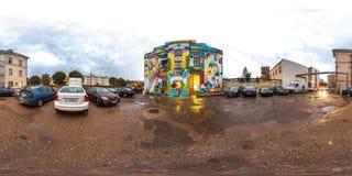 Minsk, Wit-Rusland - 2018: 3D sferisch panorama van openluchtparkeren met auto's met het bekijken 360 hoek klaar voor virtuele we Stock Foto's