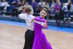 Minsk-Wit-Rusland, 23 Februari: Het niet geïdentificeerde Danspaar presteert Royalty-vrije Stock Fotografie