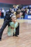 Minsk-Wit-Rusland, 23 Februari: Het niet geïdentificeerde Danspaar presteert Stock Afbeeldingen