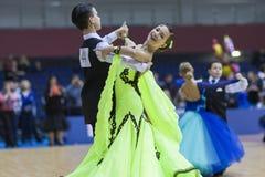 Minsk-Wit-Rusland, 23 Februari: Het niet geïdentificeerde Danspaar presteert Royalty-vrije Stock Afbeeldingen