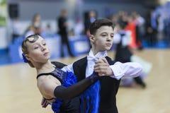 Minsk-Wit-Rusland, 23 Februari: Het niet geïdentificeerde Danspaar presteert Stock Fotografie