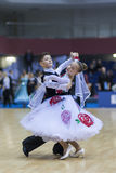 Minsk-Wit-Rusland, 23 Februari: Het niet geïdentificeerde Danspaar presteert Royalty-vrije Stock Foto