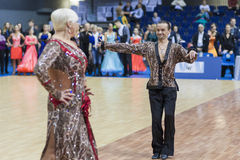 Minsk-Wit-Rusland, 23 Februari: Igor Sivov-Elena Sobol Perform S Royalty-vrije Stock Fotografie