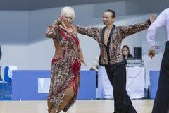 Minsk-Wit-Rusland, 23 Februari: Igor Sivov-Elena Sobol Perform S Royalty-vrije Stock Foto's