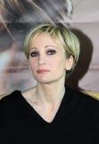 MINSK, WIT-RUSLAND - FEBRUARI 13: Patricia Kaas bij de persconferentie op 13 Februari, 2010 in Minsk, Wit-Rusland Stock Foto's