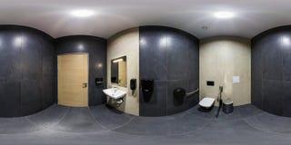 MINSK, WIT-RUSLAND - JANUARI, 2019: volledig naadloos sferisch panorama 360 van de hoekgraden mening in binnenlands badkamerstoil stock foto