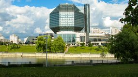 MINSK, WIT-RUSLAND - Juli 10, 2018: Nationale Bibliotheek van Wit-Rusland stock foto