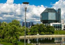 MINSK, WIT-RUSLAND - Juli 10, 2018: Nationale Bibliotheek van Wit-Rusland royalty-vrije stock afbeeldingen