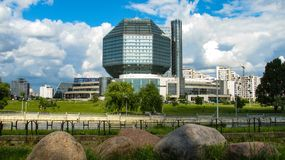MINSK, WIT-RUSLAND - Juli 10, 2018: Nationale Bibliotheek van Wit-Rusland royalty-vrije stock afbeelding