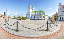 Minsk, Wit-Rusland Kathedraal van heilige geest in Minsk - Kerk van Wit-Rusland en Symbool van Kapitaal Beroemd Oriëntatiepunt royalty-vrije stock fotografie
