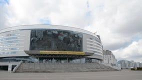 Minsk, Wit-Rusland - Maart, 19, 2019: Complexe wintersporten bekend als de Arena van Minsk stock videobeelden